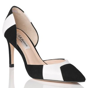 Black and white suade cut away shoes L.K.