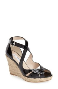 Maggie peep toe black patent leather