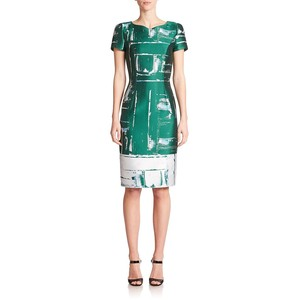 Carolina Herrera Abstract Paint Jacquard sheath dress