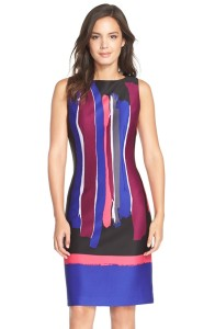 Chetta B Paint Streak Scuba Sheath Dress