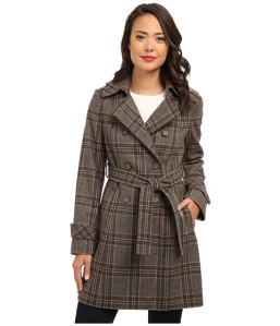 DKNY double breasted plaid trench coat