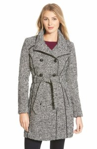 Guess belted tweed trench coat