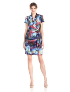 Karen Kane painted canvas wrap dress