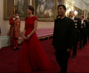 Kate Middleton attends state banquet full length