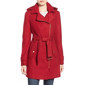 Michael Kors belted hooded wool blend coat