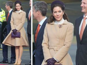 Princess Mary camel coat with purple accessories