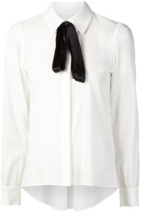White Alice and Olivia blouse with black bow
