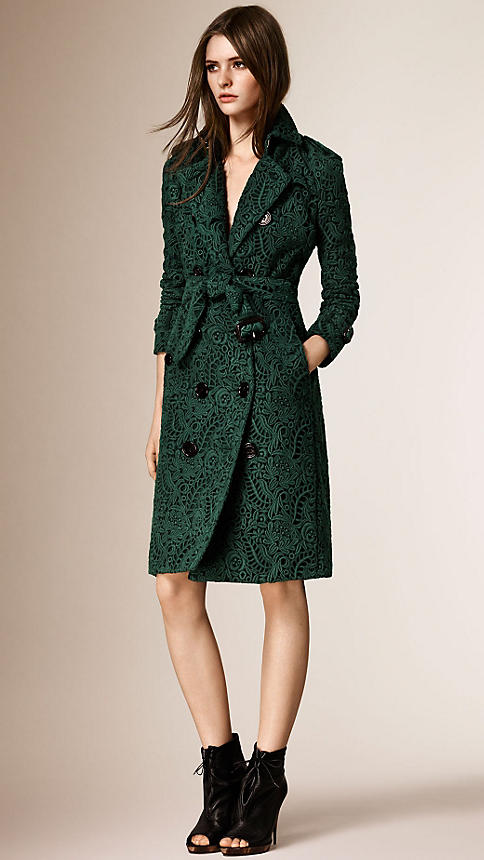 Burberry green lace coat